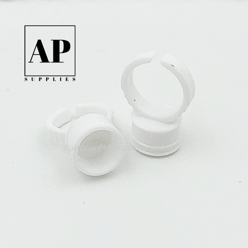 Pigment Cup Rings – White (100 pcs) with Size Selection